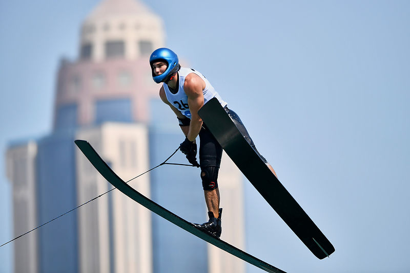 Doha, Qatar - October 14, 2019: RITTER Emile from Chile competes in Menís Waterski Jumping Final at Lagtafiya Lagoon during Day Four of the 1st ANOC World Beach Games Qatar 2019. (Photo Adam Nurkiewicz / Laurel Photo Services)