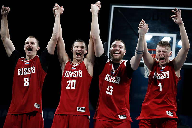 Doha, Qatar - October 16, 2019: Gold medal for Russia men's team during Basketball 3x3 event of the 1st ANOC World Beach Games Qatar 2019 (Photo Pelagia Karanikola / Laurel Photo Services)